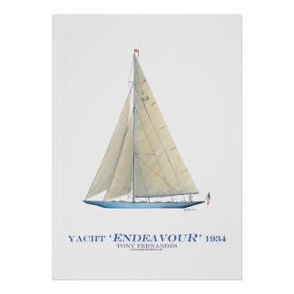 americas cup yacht 'endeavour', tony fernandes print