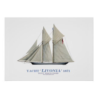 americas cup yacht' livonia' 1871, tony fernandes print