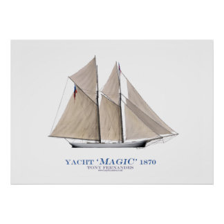 americas cup yacht 'magic' 1870, tony fernandes poster