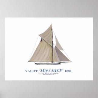 americas cup yacht 'mischief', tony fernandes print