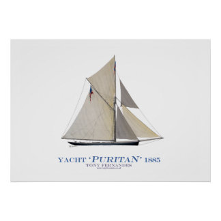 americas cup yacht 'puritan' 1885, tony fernandes print