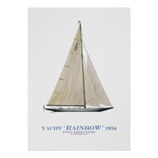 americas cup yacht 'rainbow', tony fernandes print
