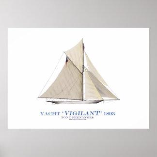 americas cup yacht 'vigilant', tony fernandes print