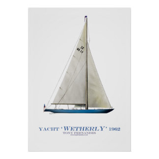 americas cup yacht 'wetherly', tony fernandes print