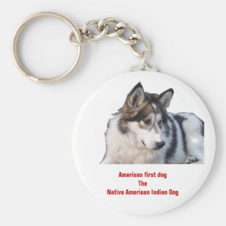 Americas first dogThe Native American Indian Dog Basic Round Button Key Ring