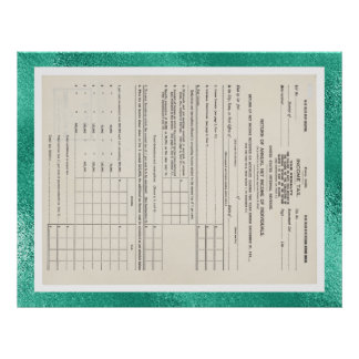 America's First Income Tax Form 1040 Glass Poster