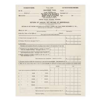 America's First Income Tax Form Postcard