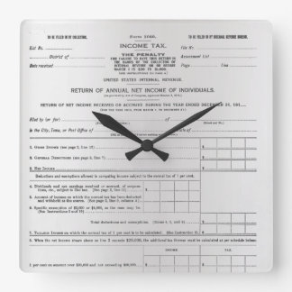 America's First Income Tax Form Silver Gray Black Clocks