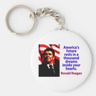 America's Future Rests  - Ronald Reagan Key Ring