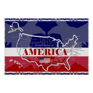 America's States Colors Bald Eagle Poster