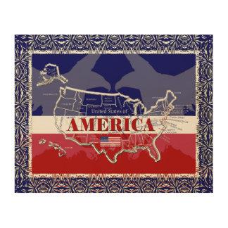 America's States Colors Bald Eagle Wood Wall Art#2 Wood Wall Art