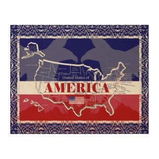 America's States Colors Bald Eagle Wood Wall Art#3 Wood Print
