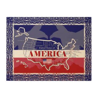 America's States Colors Bald Eagle Wood Wall Art#5 Wood Print
