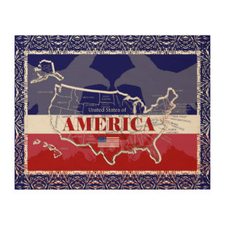 America's States Colours Bald Eagle Wood Wall Wood Print
