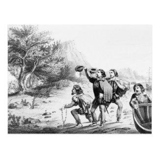 Amerigo Vespucci in America postcard