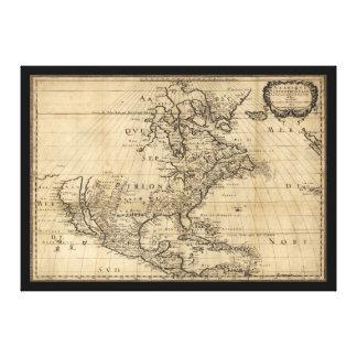 Amérique Septentrionale North America Map (1650) Stretched Canvas Print
