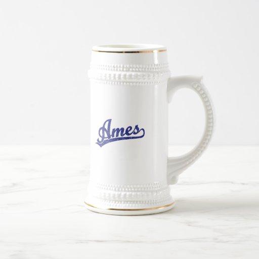 Ames script logo in blue mug