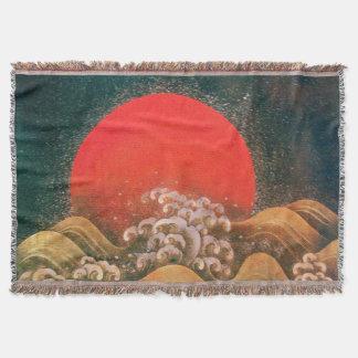 AMETERASU, SUN GODDESS Red Brown Black Throw Blanket