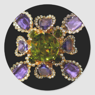 Amethyst and Peridot Classic Round Sticker