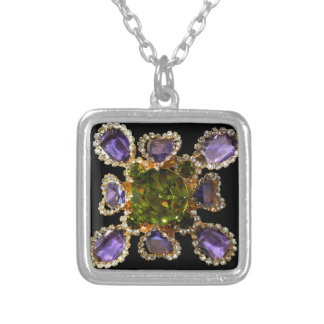 Amethyst and Peridot Silver Plated Necklace