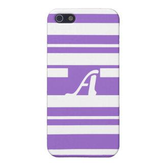 Amethyst and White Random Stripes Monogram Case For iPhone 5
