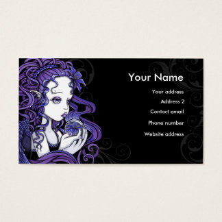 """Amethyst"" Crystal Ball Angel Art Business Cards"