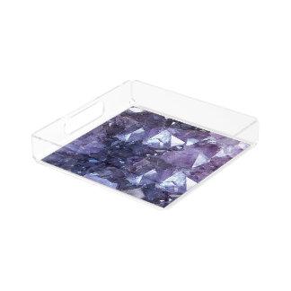 Amethyst Crystal Cluster Acrylic Tray