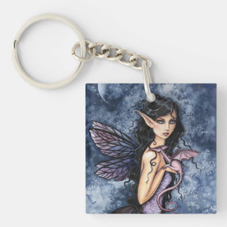 Amethyst Dragon Purple Fairy Fantasy Art Key Ring