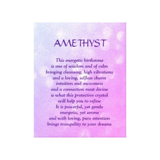 Amethyst - February birthstone poem art canvas