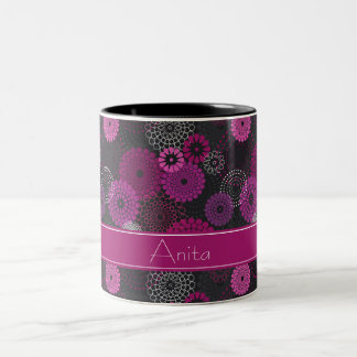 Amethyst Floral Burst Print Two-Tone Coffee Mug