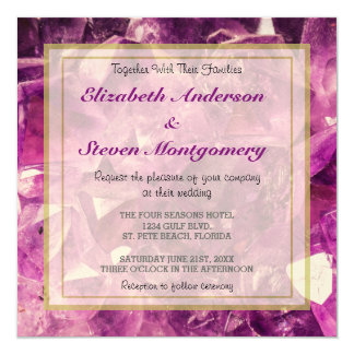 "Amethyst Gemstone Image Shiny and Sparkly 5.25"" Square Invitation Card"