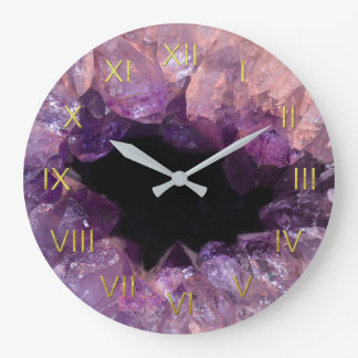 Amethyst Geode Depiction Wall Clock Gold Numerals