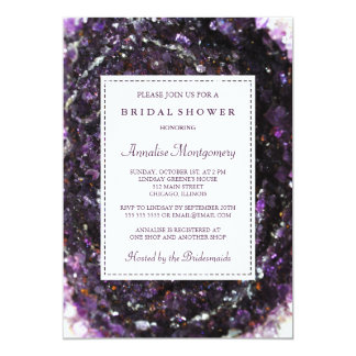 Amethyst Geode Purple Bridal Shower Invitation