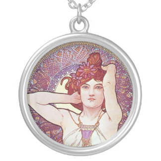 Amethyst Goddess Round Pendant Necklace