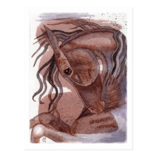 Amethyst Horse On Chocolate Watercolor Wash Post Card