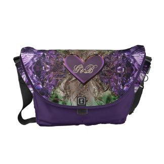 Amethyst Monogram Purple Heart Fractal Abstract Messenger Bag