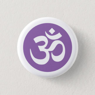 Amethyst Orchid and White Om Symbol Badge