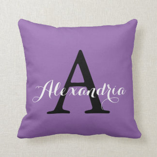 Amethyst Orchid Pale Purple Solid Color Monogram Cushion