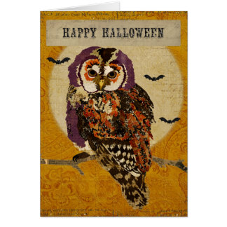 Amethyst Owl Halloween Card