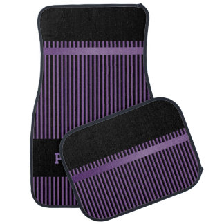 Amethyst Purple and Black Stripes | Personalize Car Mat