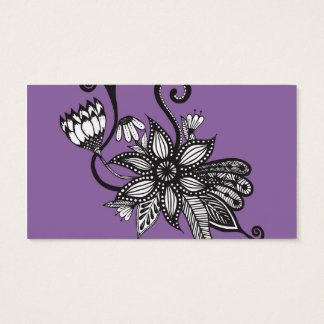 Amethyst Purple and Black & White Tangle Flowers Business Card