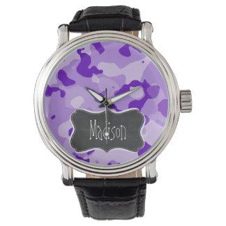 Amethyst Purple Camo; Camouflage; Chalkboard Wristwatch