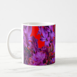 Amethyst Purple  Hyacinth RED Floral gift Coffee Mug