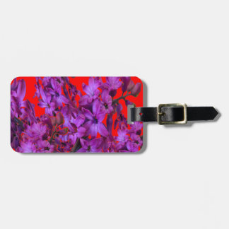 Amethyst Purple  Hyacinth RED Floral gift Luggage Tag