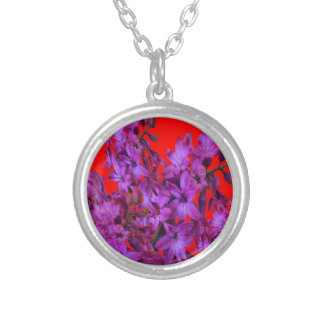 Amethyst Purple  Hyacinth RED Floral gift Silver Plated Necklace