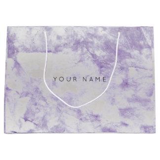 Amethyst Purple Marble Stone Metallic Gift Silver Large Gift Bag
