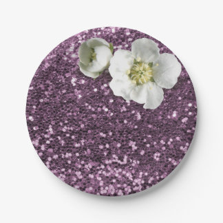 Amethyst Purple Plum White Jasmine Glitter 7 Inch Paper Plate