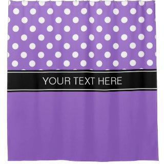 Amethyst Purple Wht LG Dot Black CB Name Monogram Shower Curtain