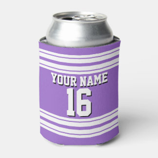 Amethyst Purple Wht Team Jersey Custom Number Name Can Cooler