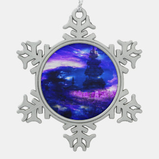 Amethyst Sapphire Bali Dreams Pewter Snowflake Decoration